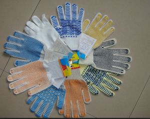 One Side PVC Dotted Glove, Rubber Coated Glove pictures & photos