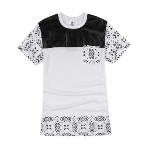 Leather Patch Cashew Nut Pattern Lengthen T Shirt pictures & photos