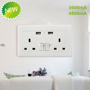 13A Dual UK/BS Plug Switch Socket with Dual USB Charger