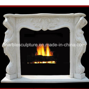 White Flower Surrond Marble Fireplace (SY-MF020) pictures & photos