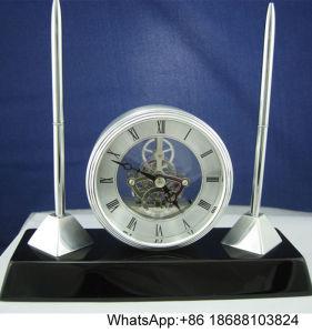 Rosewood Desk Clock & Pen Set