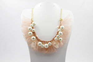 with Silk Ribbon Imitate Pearl Necklace (NJCP_0008)