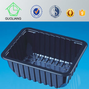China Food Packaging Manufacture Black Red Round Plastic Serving Tray for Vegetable pictures & photos
