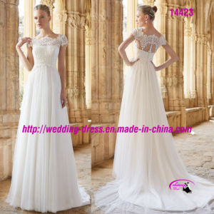 Pure Chiffon Short Sleeve Bridal Dress with Buttons Back pictures & photos