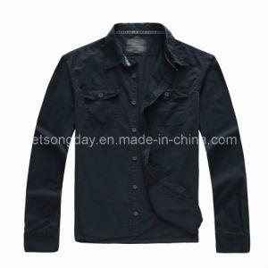 Black 100% Cotton Leisure Apparel Men′s Casual Shirt (BT157000) pictures & photos