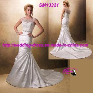 Sleeveless Round Neckline Satin Wedding Dress with Beading Top pictures & photos