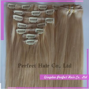 Unprocessed Virgin Cheap Brazilian 100% Remy Clip in Human Hair Weave Blonde pictures & photos