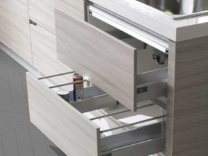 Wood Color Melamine Carcass MFC Door Stone Kitchen Cabinet Furniture (zg-046) pictures & photos