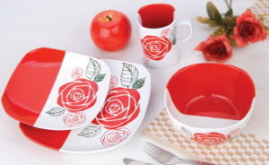 Ceramic Solid Color Screen Printing Dinner Set