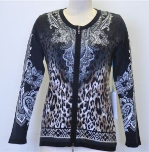 100%Cotton Women Cardigan Knit Sweater with Zip pictures & photos