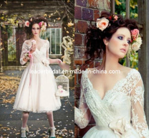 3/4 Sleeves Knee Length A-Line V-Neck Flower Sash Lace Wedding Dress H147231 pictures & photos