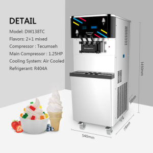 Dw138tc Yogurt Ice Cream Machine, The Soft Serve Ice Cream Machine with Large Capacity pictures & photos
