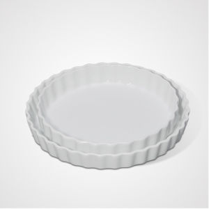 China Manufacturing Ceramic Cooking Wavy Round Tray pictures & photos