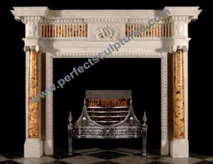 Limestone Fireplace with Carved Stone Marble Mantel (QY-LS376) pictures & photos