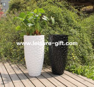 Fo-226 Outdoor Round Decorative Fiberglass Flower Pot pictures & photos