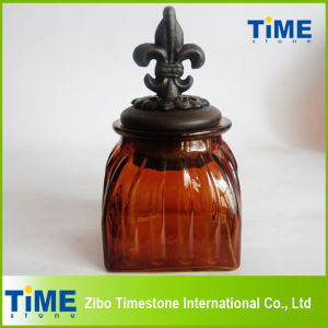 Square Shape Colorful Glass Jar with Lid pictures & photos