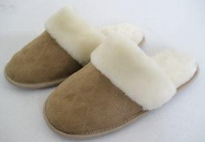 New Suede Fur Trimed Memory Foam Lady′s Slipper