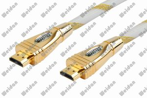 Luxuary Designed Golden Shining Plug HDMI Cable pictures & photos