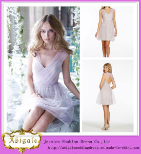 2014 Charming A Line V Neck Sleeveless Mini Traditional Bridesmaid Dress (hs120) pictures & photos