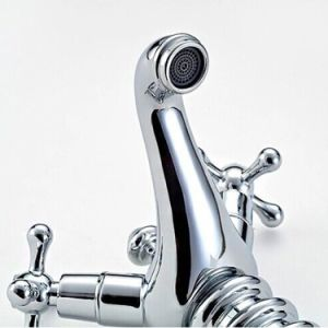 Flg Chrome Finish Basin Bath Mixer with Flower Handle pictures & photos