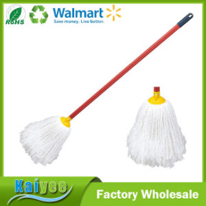 Cleaning White Super Microfiber Mop Floor with Wood Handle pictures & photos
