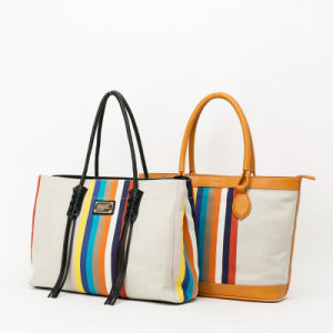 New Arrival Rainbow series fashion canvas Lady handbag(QC-64) pictures & photos
