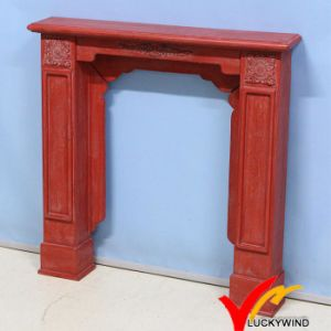 Kd Vintage Antique Red Color French Wooden Fireplace Mantel with Resin Flower pictures & photos