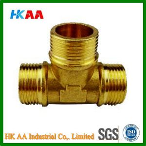 Brass Tee Hose Fittings Brass Tee Reducer Reducing Nipple OEM Precision Brass Hose Screw Fitting Brass Tee Connector pictures & photos