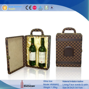 2 Bottle Top Level Leather Wine Gift Box (5898R2) pictures & photos
