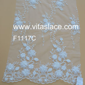 Custom Color 3D Floral Wedding Lace Used on Bridesmaid Dress FC1117c
