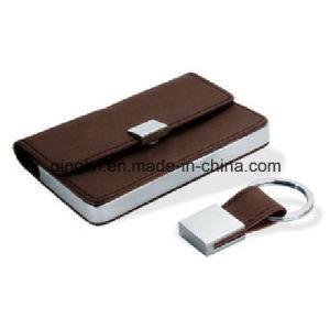 Promotional Cross-Section Card Holder and Keychain Gift Set (QL-TZ-0089-1) pictures & photos
