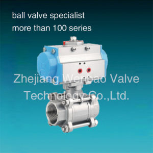Stainless Steel 304 Pneumatic Actuator 3-PC Ball Valve pictures & photos