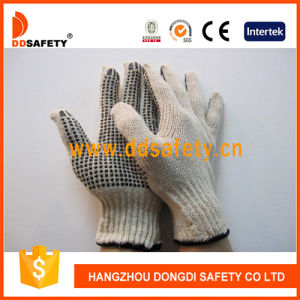 Ddsafety 2017 Natural Cotton String Knit Glove with Black PVC Dots One Side pictures & photos