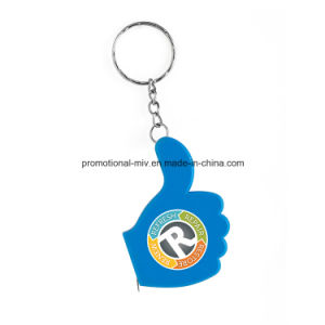 Colorful Thumb-Shaped Keychain with Ruler Function Promotional Tape Measures pictures & photos