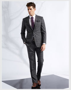 Bespoke Grey Check Business Dress Suit for Men Discount