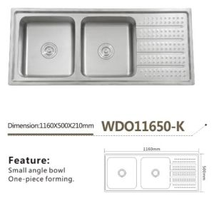 Stainless Steel One Piece Forming Double Bowl Sink Wdo11650-K