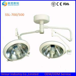 Qualified Hospital Ceiling Mounted Double Head Shadowless Halogen Operation Light pictures & photos