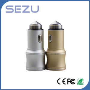 2 in 1 Dual USB Portable Car Charger with Metal Safety Hammer for iPhone and Samsung pictures & photos