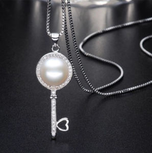 Wholesale Pearl Pendant 9-10mm AAA Bread Round 925 Silver Freshwater Pearl Pendant pictures & photos