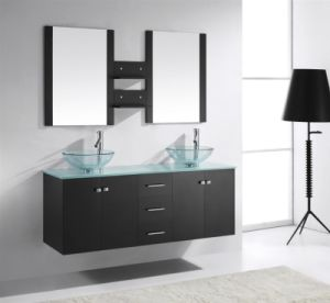 Double Sink Modern Wall Mounted Bathroom Cabinet pictures & photos