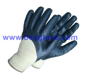 10 Gauge Polyester Liner, Nitrile Coating, 3/4 Safety Gloves pictures & photos