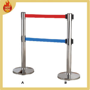 Crowd Control Barrier Retractable Belt Stanchion Railing Post Queue Pole pictures & photos