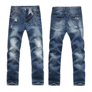 Men′s Denim Light Blue Skinny Cotton Jeans pictures & photos