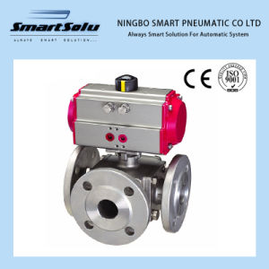 3 Way Flanged End Stainless Steel Ball Valve (Pneumatic Actuator) pictures & photos