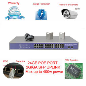 24 Port Poe Switch 1000Mbps Internal 400W Power Compliant with Hik and Dahua IP Camera pictures & photos