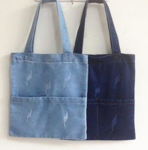 Popular Blue Cloth Denim Fabric Shoulder Handbags Canvas Tote Bag pictures & photos