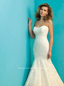 Sweetheart Lace Mermaid Bridal Dress Sweep Train Wedding Gown pictures & photos