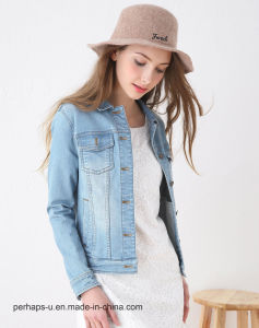 High Quality Women Coat Light Blue Vintage Denim Motorcycle Jacket pictures & photos