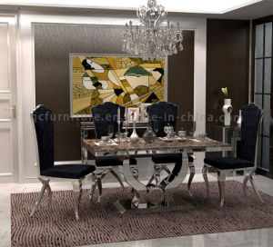New Design 6 Seaters Modern Marble Top Metal Base Dining Table Set pictures & photos