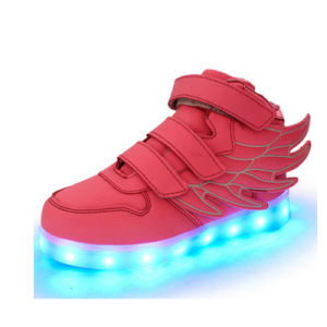 USB 7 Light Color Fashion Pink Angel Wings LED Shoes pictures & photos